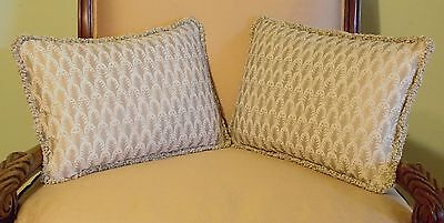 """PAIR OF FORTUNY PILLOWS, 12"""" X 18""""  W/ZIPPERS"""" PIUMETTE"""" PATTERN."""