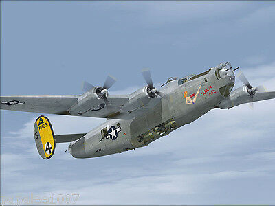 """Model Airplane Plans: CONSOLIDATED B-24 LIBERATOR 69"""" UC Bomber for .10 Engines"""