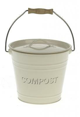 Cream enamel vintage retro style kitchen compost pail bin lid wood handle 4L