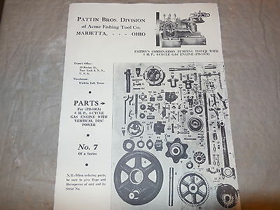 Vintage Pattin Brothers Division Of Acme Fishing Tool Co.gas Motor Parts Book