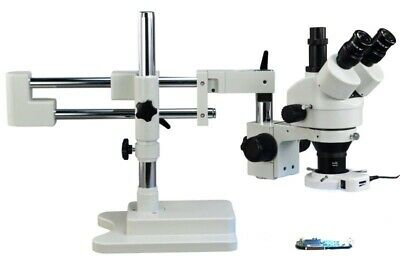 3.5X-90X Zoom Stereo 64 LED Ring Light Trinocular Microscope Dual-Boom Stand