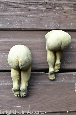 2 CHEEKY BOTTOMS BUMS WALL PLAQUES frost proof stone home or garden ornament