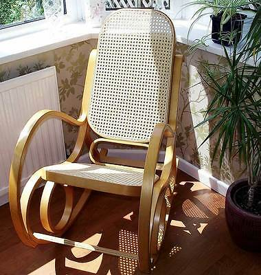 Brand New Maternity Bentwood Oak & Rattan Rocking Chair - Baby Nursing & Feeding