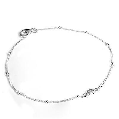 925 Sterling Silver Diamond Cut Bracelet with Cute Star & Clasp