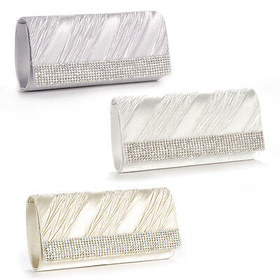 Womens Ladies Wedding Prom Clutch Purse Evening Handbag Bridal Bag Silver