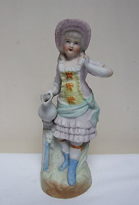 """CONTINENTAL GERMAN? BISQUE FIGURINE GIRL AT WATER FOUNTAIN 7"""""""
