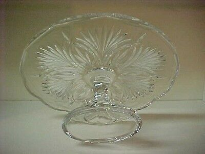 Heavy Crystal Pedestal Cake Stand with Pattern