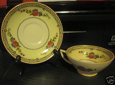 VINTAGE MYOTTS ROYAL CROWN CHINA TEA CUP AND SAUCER HAND PAINTED