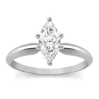 1.50 Ct Marquise Solitaire Engagement Wedding Promise Ring Solid 14K White Gold
