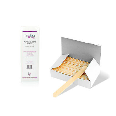100 Paper Waxing Strips And 100 Wooden Spatulas For Depilation Wax