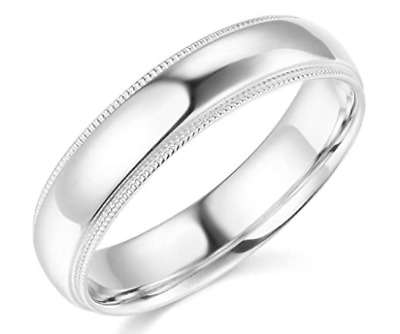 Solid Real 14K White Gold Wedding Anniversary Band Ring Milgrain Mens Womens
