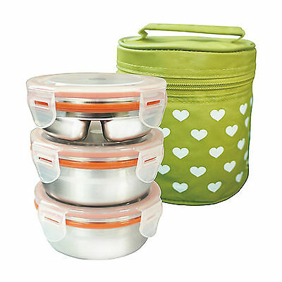 Stainless steel 3 Container Circle Bento Lunch Box Insulated Bag food storage