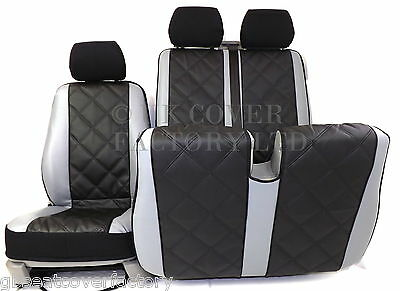 Vw Transporter T5 Van Seat Covers Quad Pvc Leather  P150Bkgy In Stock!!!