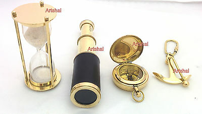 Brass Telescope + 1 minute hourglass +Dalvey  Magnetic Compass + Anchor Keychain