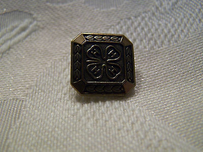 """4-H Lapel Pin Brooch 1/2"""" Brass Colored Four Leaf Clover"""