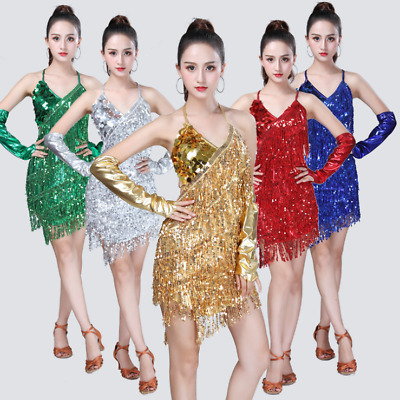 HJ23# Sequins Tassel Latin Dance Costume (Dress,2 Arm Sleeves) 3 Colors