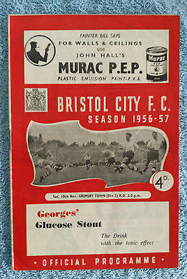 1956 - BRISTOL CITY v GRIMSBY TOWN PROGRAMME - 2nd Division