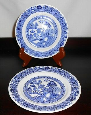 ANTIQUE - 2 DESSERT PLATES -CORONAWARE BY S. HANCOCK & SONS WILLOW PATTERN