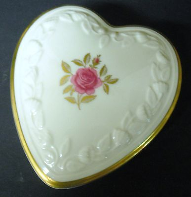 Lenox Heart Shaped Trinket Box with Roses on Lid