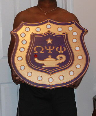 """Omega Psi Phi Fraternity X-Large - 24"""" (Inch) Carved Inner Shield (Painted)"""
