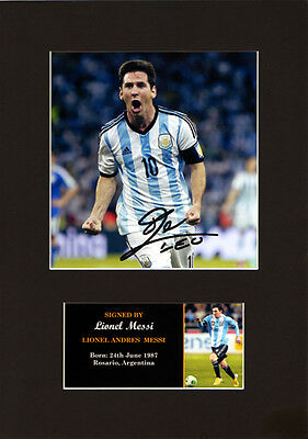 Leo Messi Signed Mounted Photo Display, Argentina, Barcelona Autographed A4
