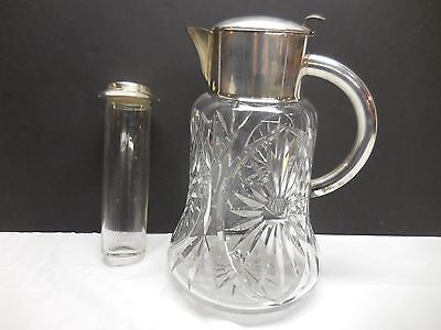 ANTIQUE GERMAN CUT CRYSTAL & SILVER PLATE TANKARD ICE PITCHER      rz2-985