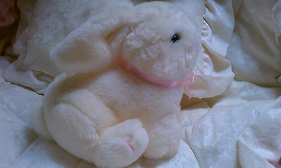 Dakin EASTER WHITE BUNNY RABBIT Plush stuffed toy , with pink satin bow ! NWOT