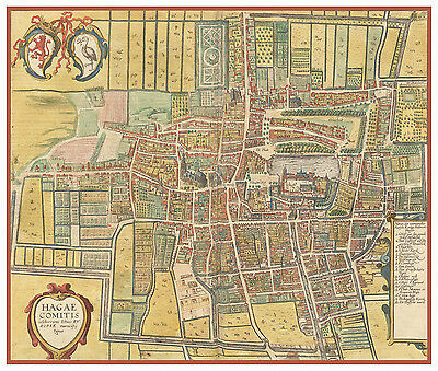 The Hague South Holland Netherlands bird's-eye view map Braun Hogenberg ca.1617