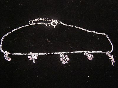 "ANKLET STERLING SILVER PINK ZIRCON CZs ON DRAGONFLY & BUGS 9 1/2-10 1/2"" #12-002"