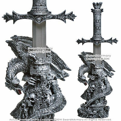 Fantasy Gothic Dragon Haunted Tower with King Short Sword Dagger