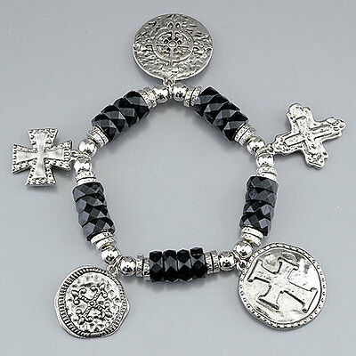 Gold Black Stone Silver Ancient Roman Cross Charm Bead Stone Bracelet