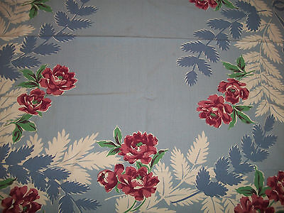 VINTAGE RED ROSE AND BLUE FERN TABLECLOTH MINT
