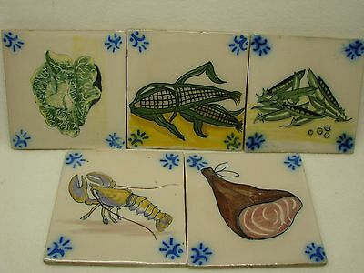 VINTAGE SANT ANNA HAND PAINTED GLAZED TILES MADE IN PORTUGAL (6)
