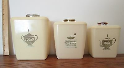 Vintage 1950's Burroughs Three Canister Set w/ Lids ~ Made in California ~ Sweet