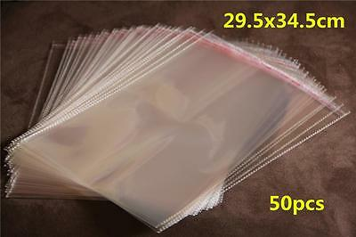 50 Self Adhesive Self Seal Resealable Clear Plastic Cellophane Bags 29.5x34.5cm