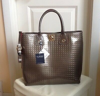 NWT ARCADIA TAUPE LEATHER MADE IN ITALY BAG TOTE CROSSBODY 2078
