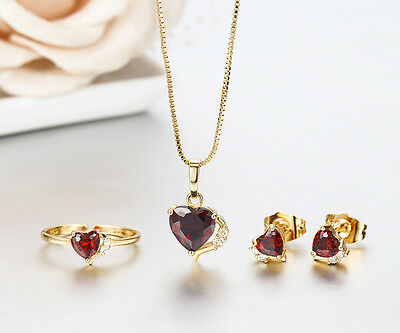 Kids Girls 18K Gold GF Red Heart Cz Ring Stud Earrings Necklace Jewelry Sets