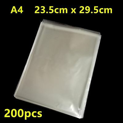 100pcs A4 Size Self Adhesive Self Seal Resealable Clear Plastic Bags 23.5x29.5cm