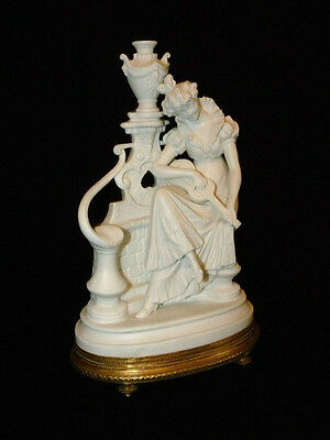 Beautiful French Biscuit Statue Figurine on Gilded Bronze Base