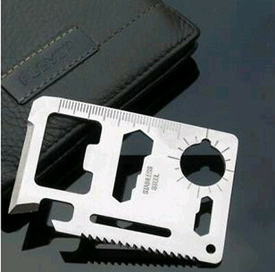 NEW 11 in 1 Multi Credit Card Outdoor Survival Knife Camping Tool with sheath A