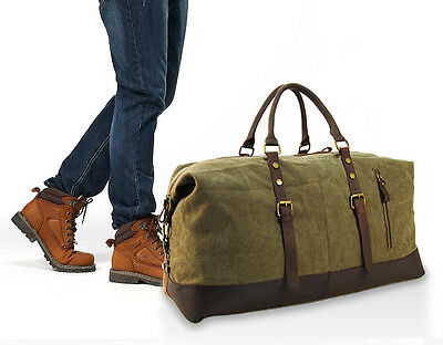 Rugged Leather Waxed Canvas Duffle Bag Small Gym Bag For Men