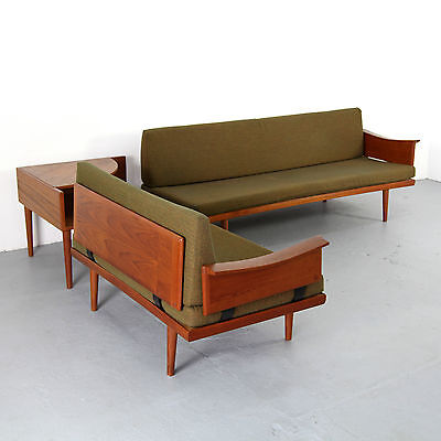 Danish Modern Seating Group Daybed & Two-Seater 60s | Teak Sitzgruppe Sofa 60er