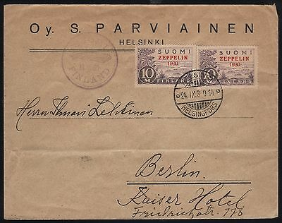 Zeppelin Flight Cover Finland To Germany Sept 24,1930 Br7803