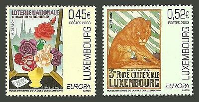 LUXEMBOURG 2003 EUROPA POSTER ART WILDLIFE CATS FLOWERS ROSES LOTTERY SET MNH