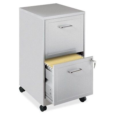 Lorell 16873 2-Drawer Mobile File Cabinet, 18-Inch Depth - Silver