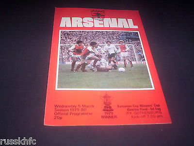 1979/80 European Cup Winners Cup Arsenal V Gothenburg * Exc*
