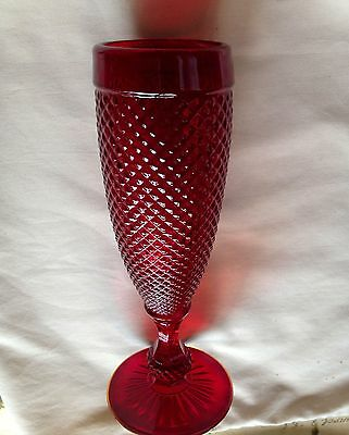 """Dark Red cut glass Vase 7.25"""" thick heavy red stemmed beautiful vase"""