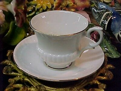 Vintage Crown Staffordshire White Bone China Tea Cup & Saucer Made in England