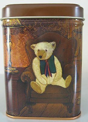 Teddy Bear Gift Tin - Square Caddy & Lid - Antique Toy Teddies Design - New