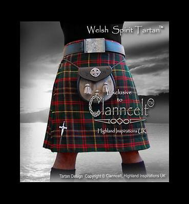Kilt/Cilt WELSH SPIRIT TARTAN© A Tribute to Celtic Wales 16oz fabric